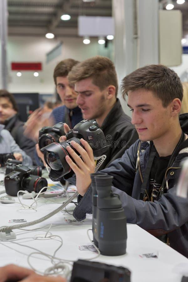 Canon firmy budka przy CEE 2015 wielkie elektronika handluje s obraz royalty free