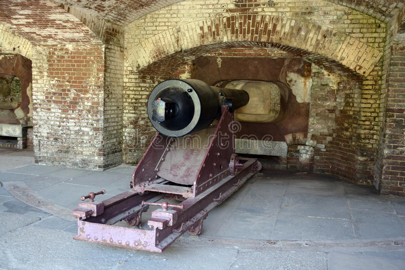 Canon Fort Sumter. CHARLESTON SC 06 25 2016: Canon Fort Sumter is a sea fort in Charleston notable for 2 battles of the American Civil War. was one of a number stock images