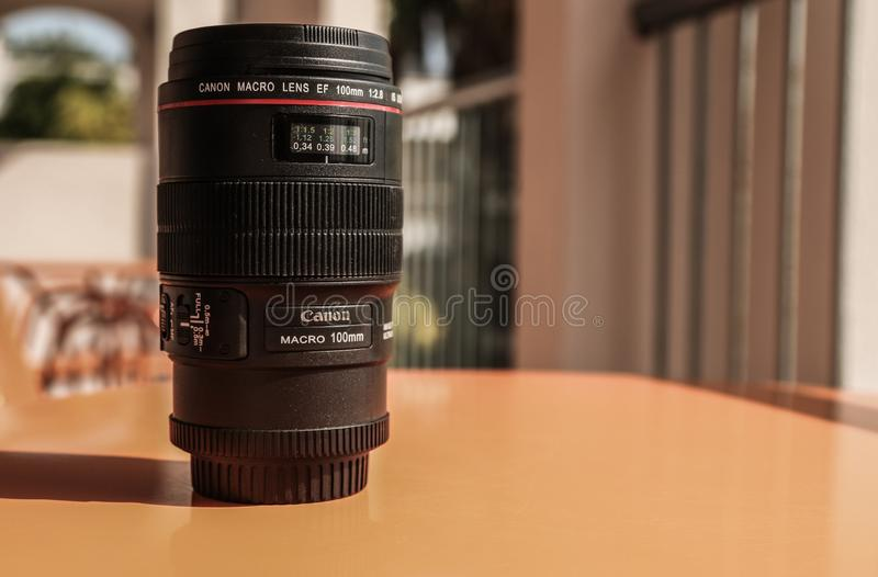 Canon macro lens cup. Canon 100mm 2.8 L ef macro lens stock photo