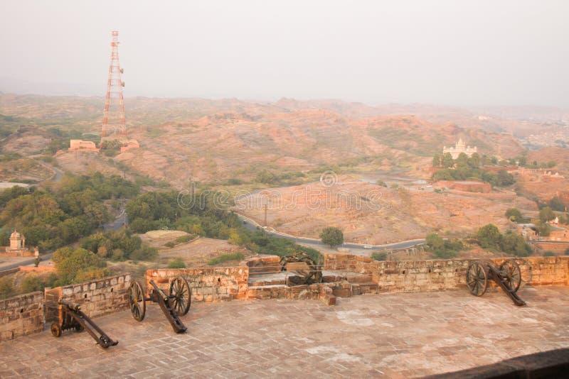 Canon na battlements Mehrangarh fortu ramparts zdjęcia royalty free