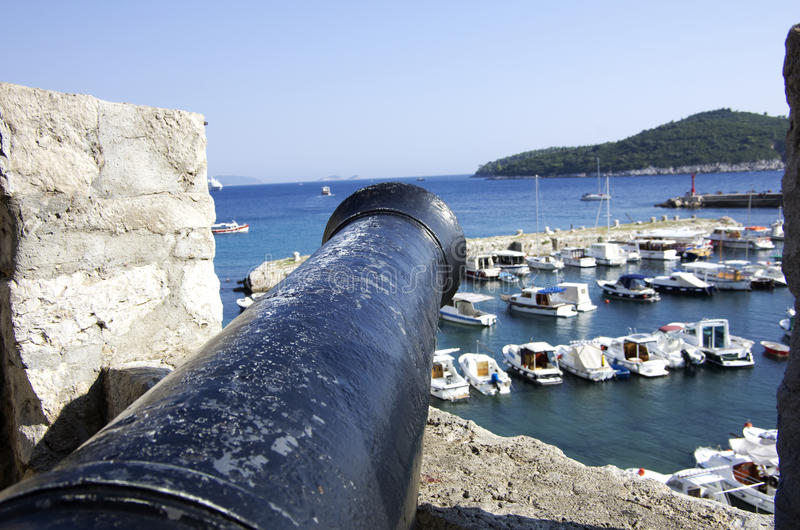 Canon. Pointing at ships, Dubrovnik Croatia stock photography