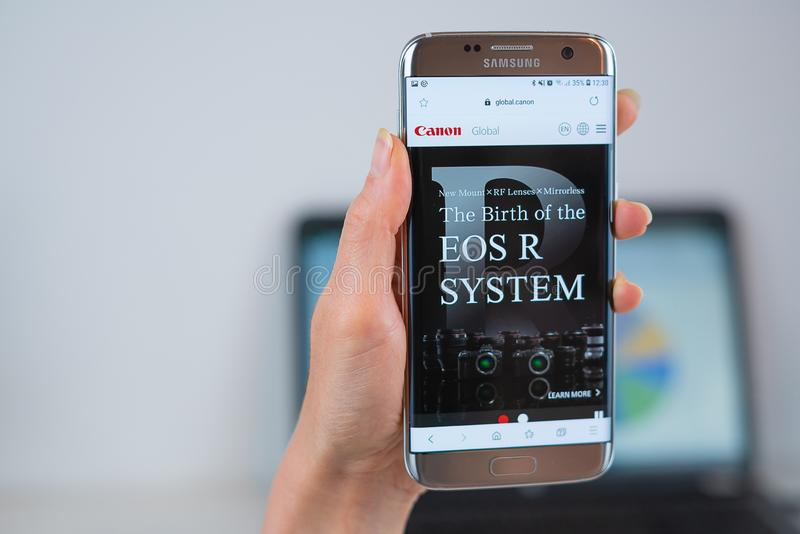 Canon web site opened on the mobile royalty free stock photography