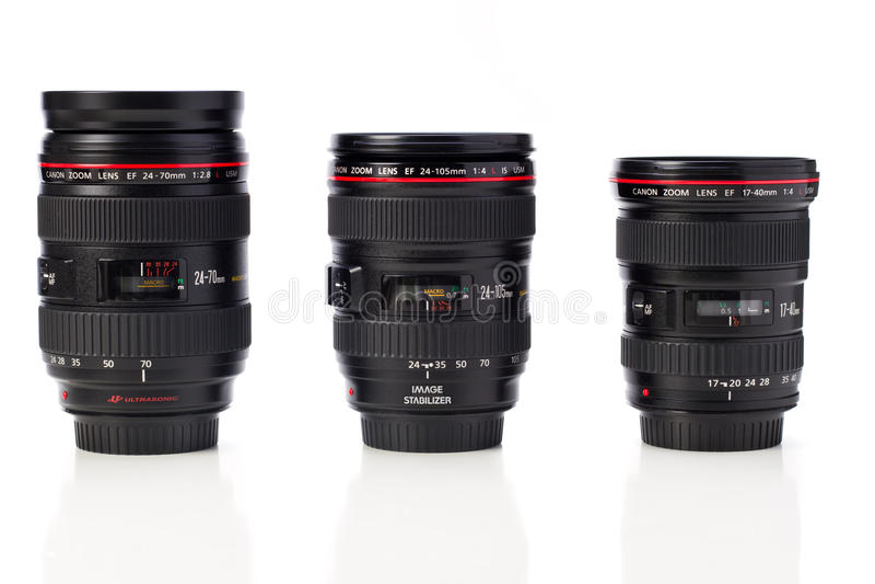 Canon-Zoomobjektive lizenzfreie stockbilder