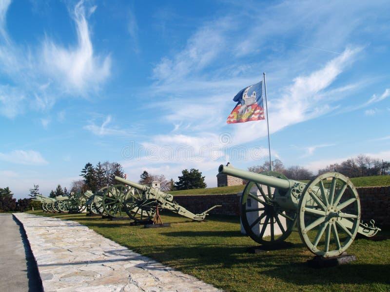 Canones en la fortaleza de Kalemegdan fotografía de archivo libre de regalías