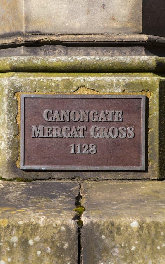 Canongate Mercat platta fotografering för bildbyråer