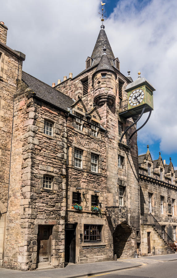Canongate Toll Booth Clock, Royal Mile, Edinburgh, Scotland. The 1591 toll booth clock on the old prison in Canongate, on the Royal Mile, In Edinburgh, Scotland stock photo