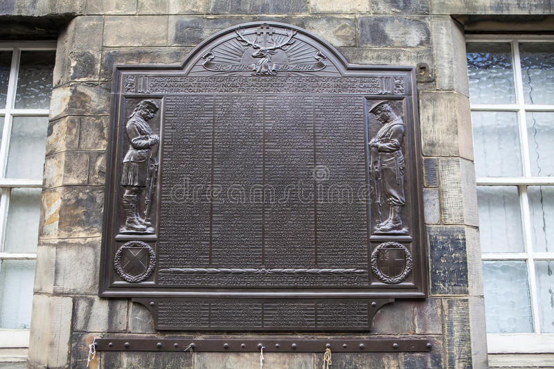 Canongate World War One Memorial in Edinburgh. EDINBURGH, SCOTLAND - MARCH 10TH 2016: A memorial on Canongate Tolbooth in Edinburgh, dedicated to the memory of royalty free stock photography