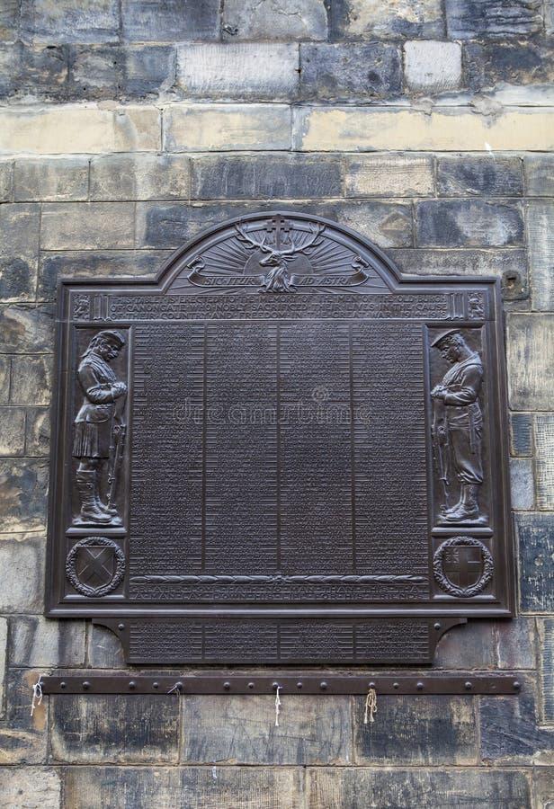 Canongate World War One Memorial in Edinburgh. EDINBURGH, SCOTLAND - MARCH 10TH 2016: A memorial on Canongate Tolbooth in Edinburgh, dedicated to the memory of stock photos