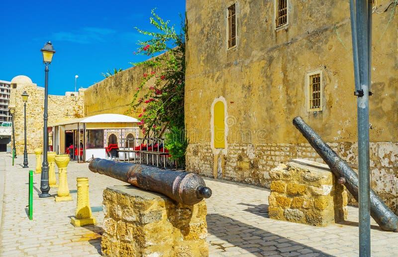 Canons anciens à la forteresse de Ksibah, Bizerte, Tunisie images libres de droits