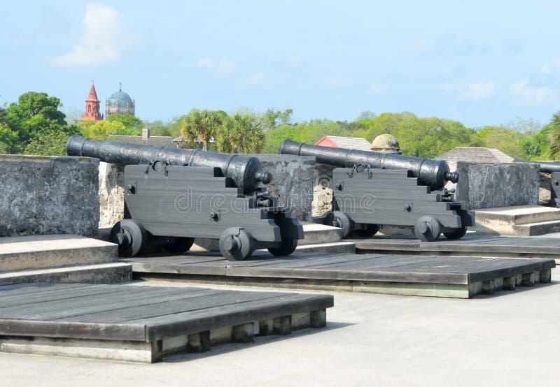 Canons au château de San Marcos à St Augustine, la Floride image stock