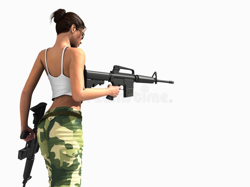 Canons de fixation de femme de soldat illustration stock
