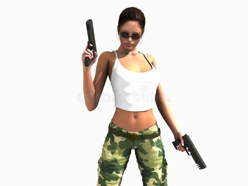 Canons de fixation de femme de soldat illustration libre de droits