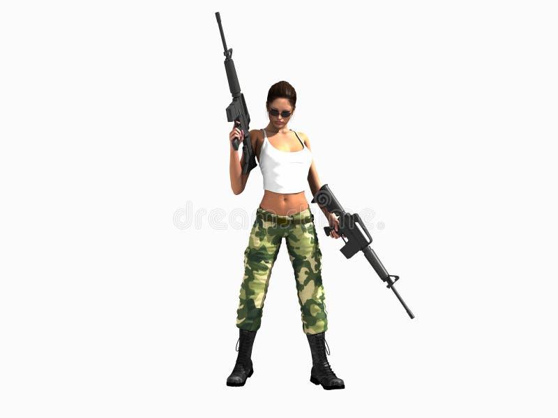 Canons de fixation de femme de soldat illustration de vecteur