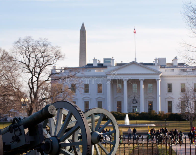 Canons de guerre civile à la Maison Blanche  photo stock
