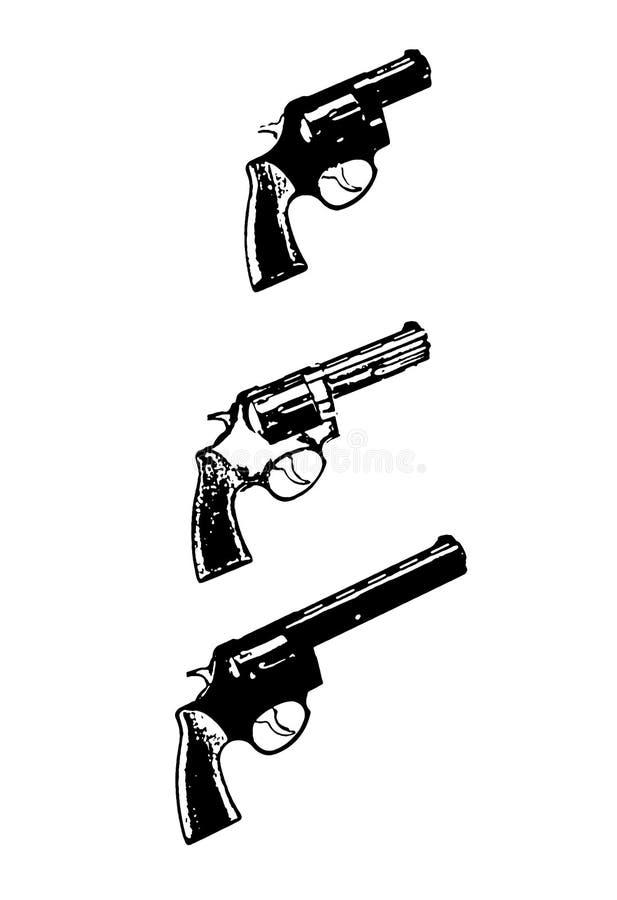 Canons de vecteur de revolvers, noirs sur le fond blanc illustration de vecteur