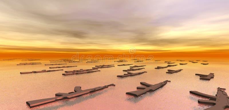 Canons flottant en mer illustration libre de droits