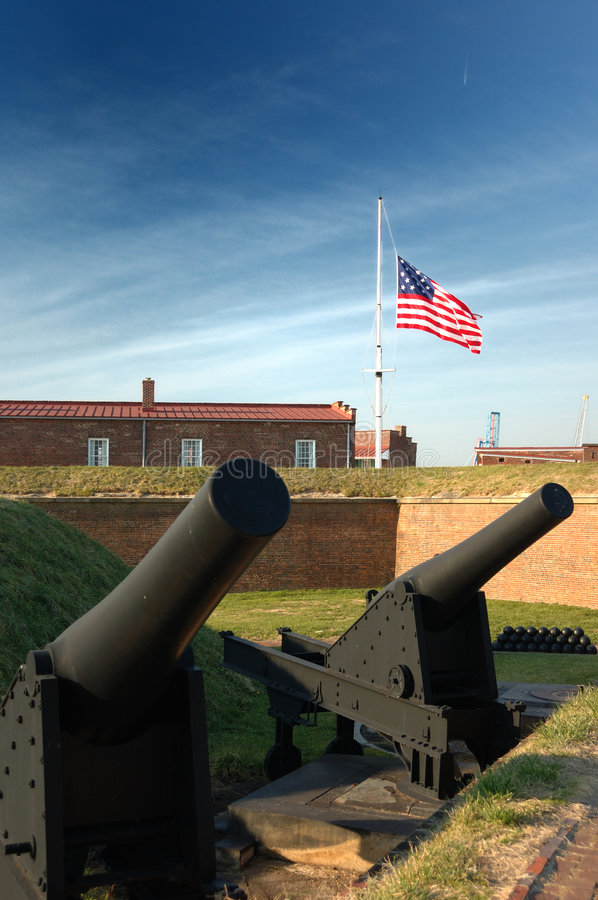 Canons at Fort McHenry, Baltimore. Photo of a Fort McHenry canon in Baltimore Maryland. The successful defense of this fort against British 1814 inspired Francis royalty free stock images