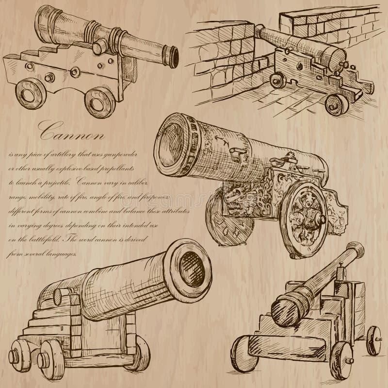 Canons - vecteurs tirés par la main converti illustration de vecteur