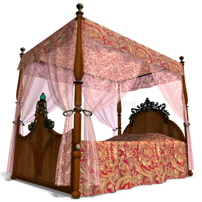 Canopy bed of louis XV. 3D rendering of the canopy bed of louis XV. with clipping path and shadow over white vector illustration