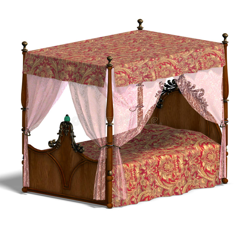 Canopy bed of louis XV. 3D rendering of the canopy bed of louis XV. with clipping path and shadow over white stock illustration