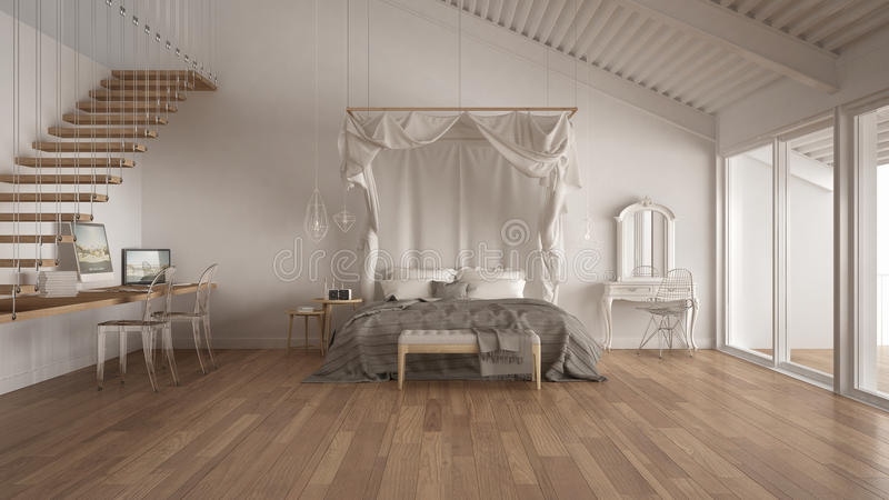 Canopy bed in minimalistic white bedroom with home workplace, sc. Andinavian classic interior design vector illustration