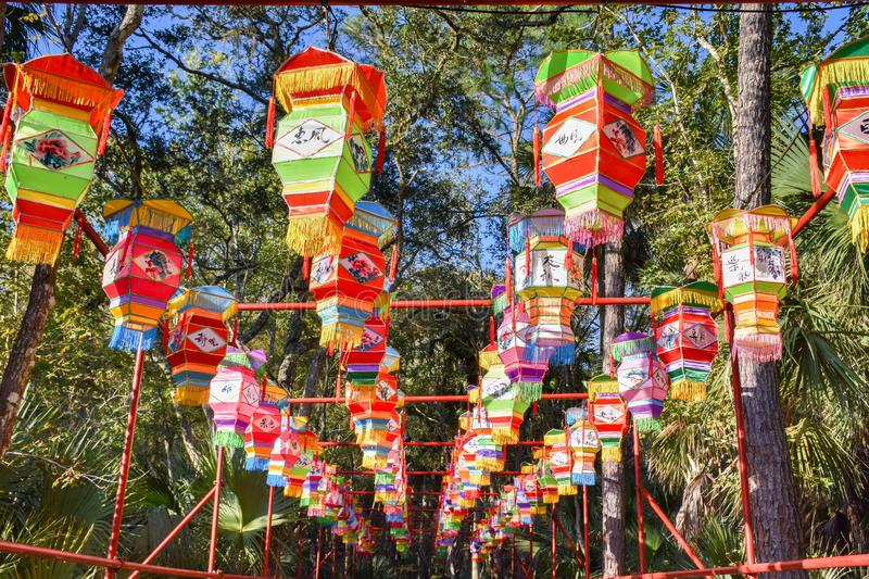 Canopy of Chinese Lanterns on display in Florida royalty free stock photography
