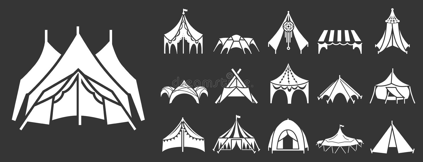 Canopy icon set, simple style stock illustration