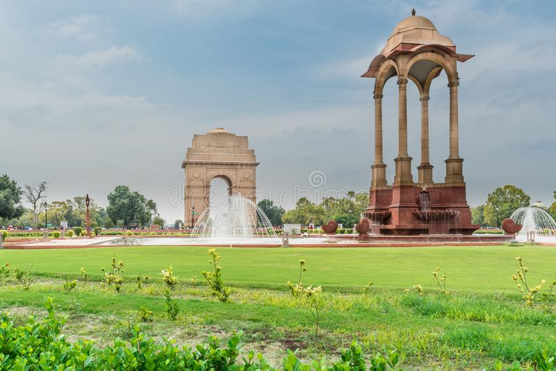 Canopy and India Gate at New Delhi. View of canopy and India Gate, New Delhi, India, a war memorial of British Indian Army who died at First World War stock photography