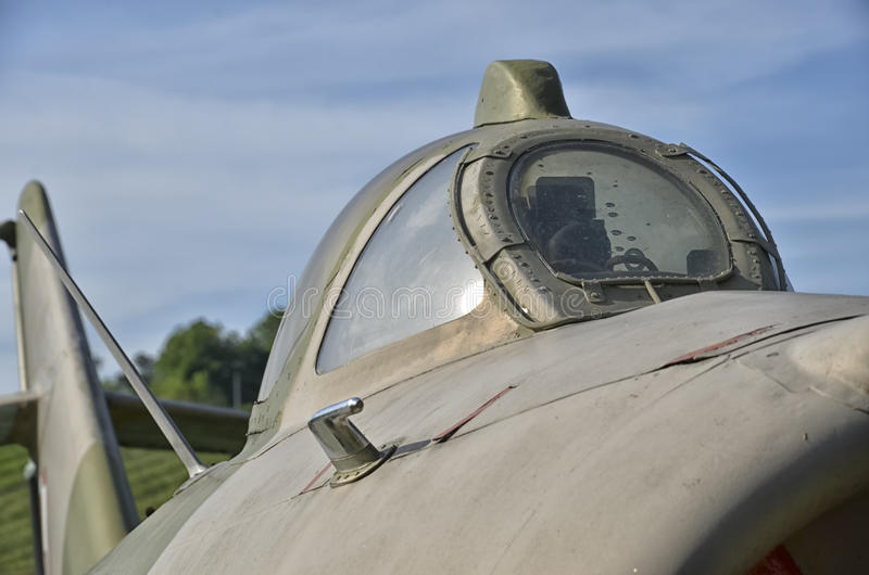 The canopy of the Lim-6b jet fighter. View of the canopy of the Lim-6b jet fighter royalty free stock image