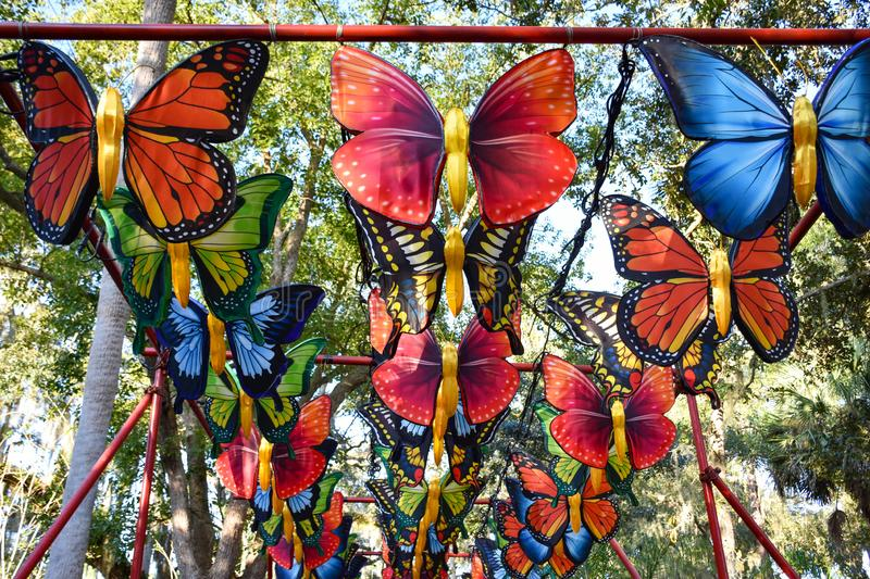 Canopy of Silk Butterflies on display in Florida stock images
