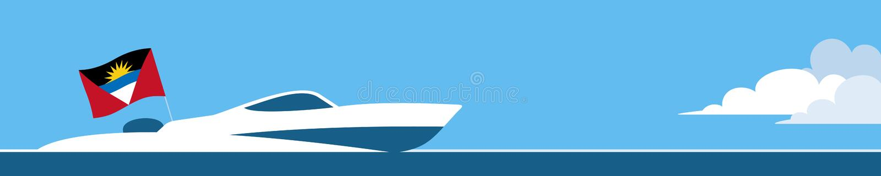 Canot automobile avec le drapeau d'Antigua et de Barbuda illustration stock