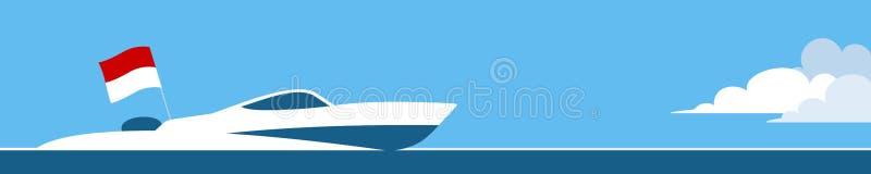 Canot automobile avec le drapeau du Monaco illustration stock