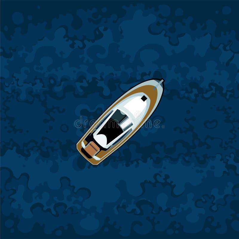 Canot automobile peint sur le fond de l'eau bleue illustration libre de droits