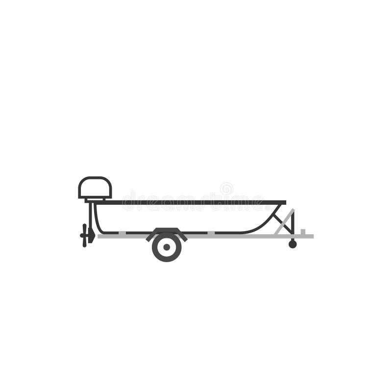 Canot automobile sur la remorque de voiture illustration de vecteur