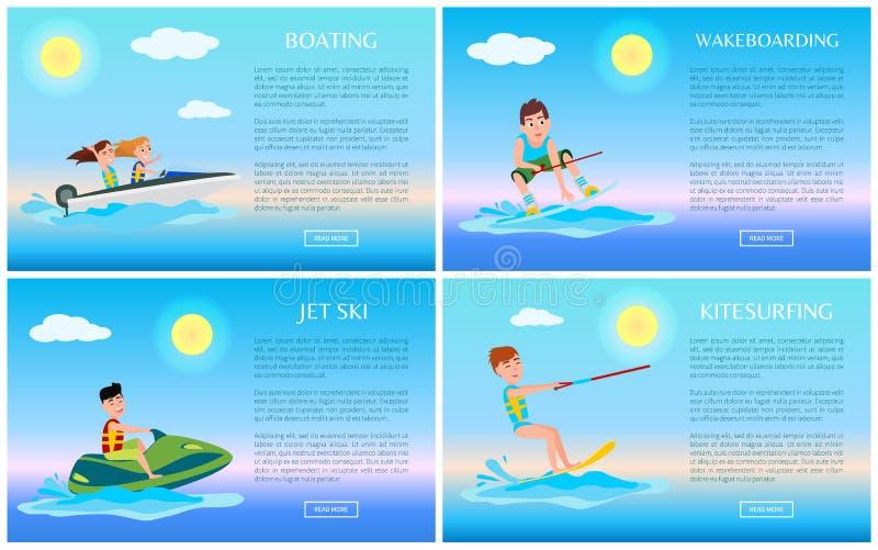 Canotage et Wakeboarding, Jet Ski et kitesurf illustration stock