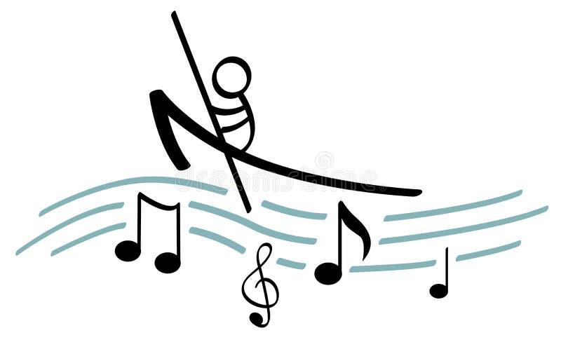 Canotaje en música ilustración del vector