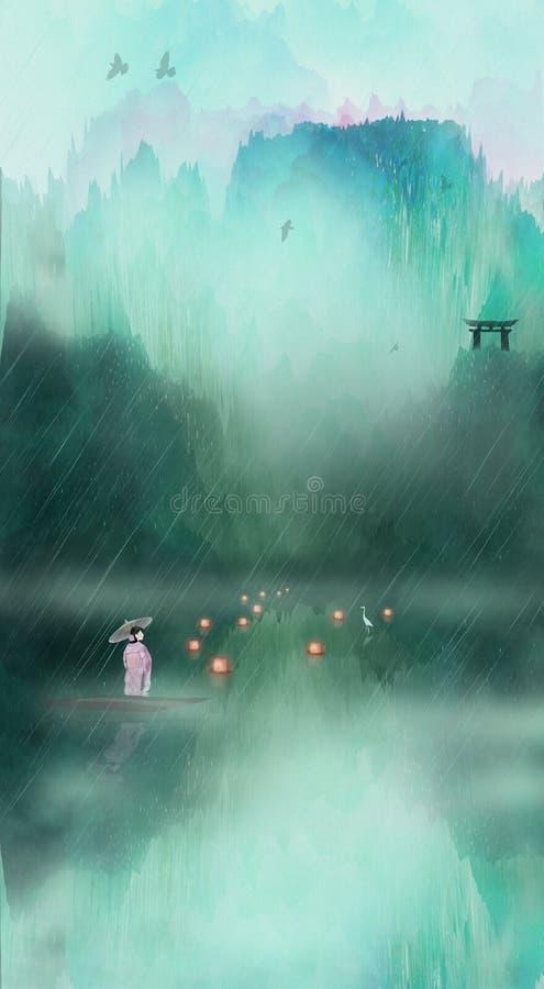 Canotaje japonés de la mujer en el ejemplo de la lluvia ilustración del vector