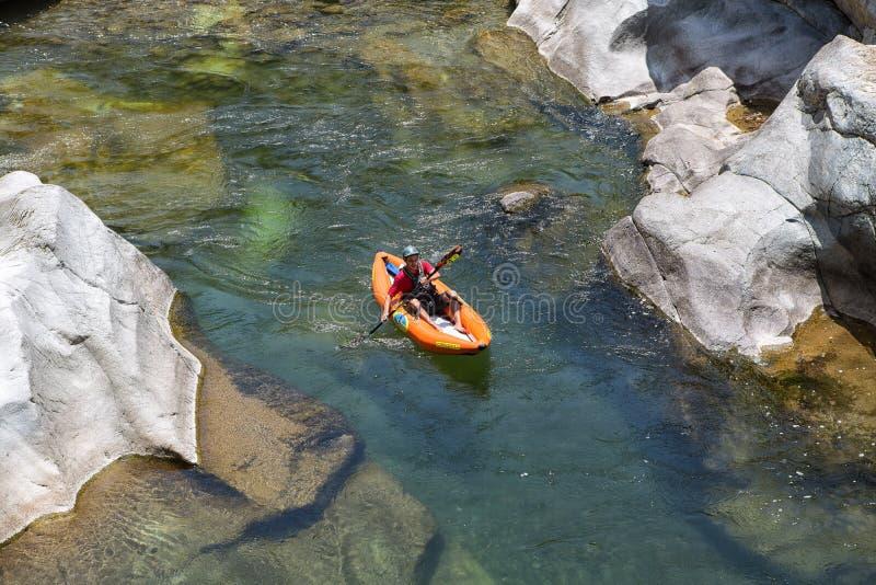 Canrejal河的皮艇在洪都拉斯 库存照片