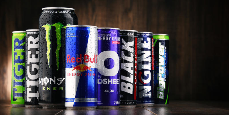 Cans of assorted global energy drink products stock photography