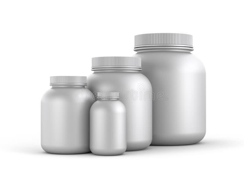 Cans av protein- eller gainerpulver royaltyfri illustrationer