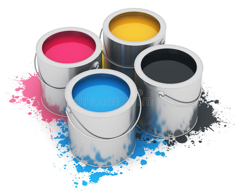 Cans with CMYK paint vector illustration