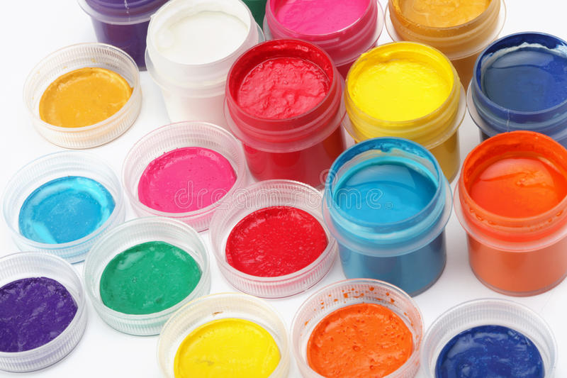 Cans of color paint