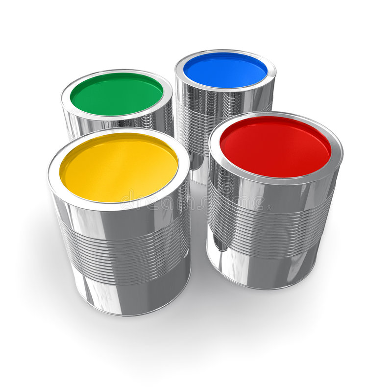Cans with color paint stock illustration