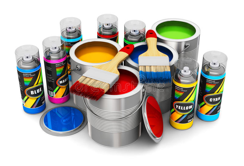 Cans with color paint, paintbrushes and spray paints stock illustration