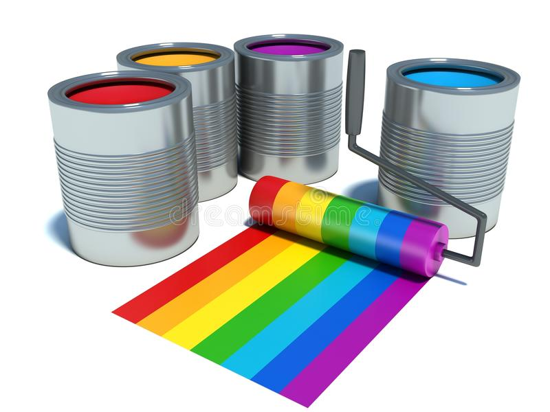 Cans with color paint, roller brush with rainbow royalty free illustration