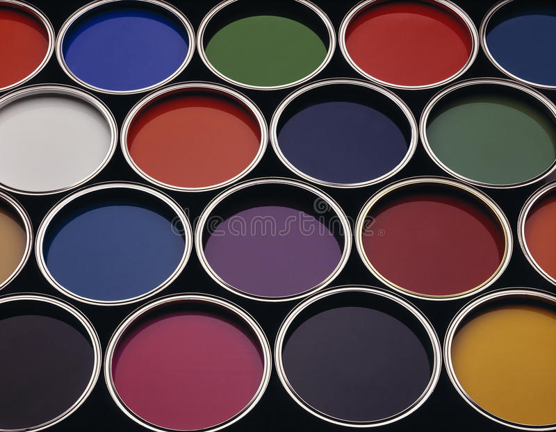 Cans of coloured paint royalty free stock images