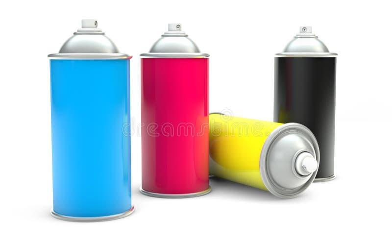 Cans för CMYK-målarfärgspray stock illustrationer