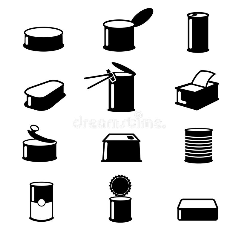 Cans food,canned goods vector icons royalty free illustration