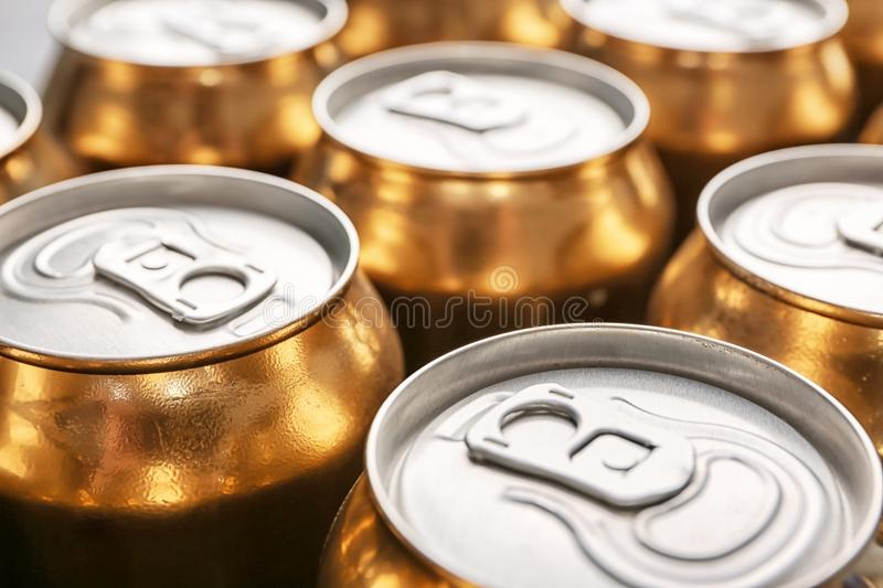 Cans of fresh beer stock photo