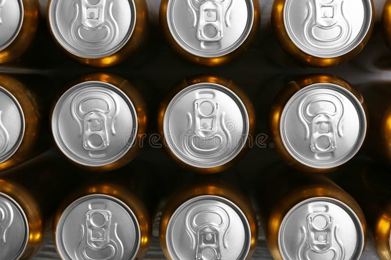Cans of fresh beer stock photography
